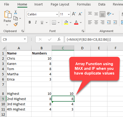 MAX and IF Function - array function