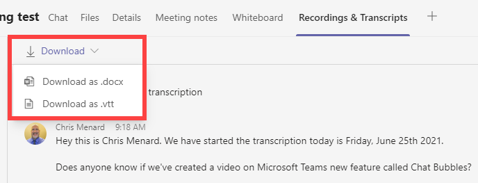Download a transcript from a Team Meeting