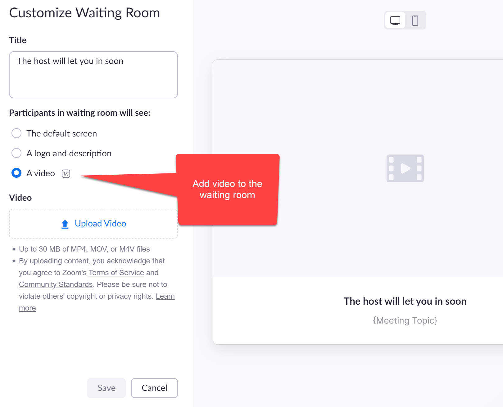 Add video to the Zoom waiting room