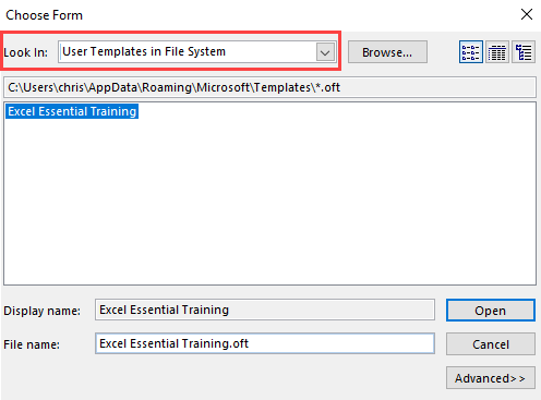 User Template in File System - Outlook