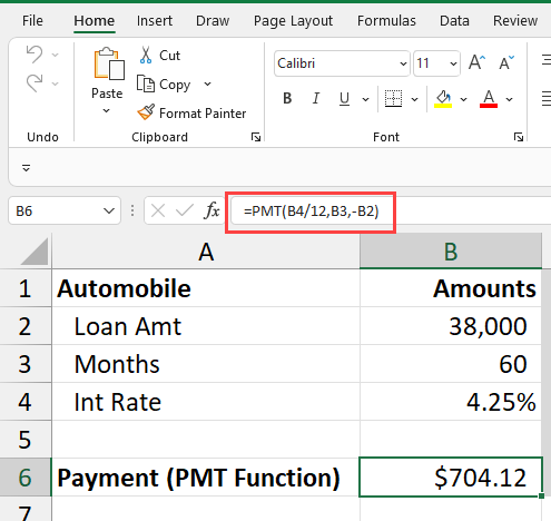 Payment function in Excel