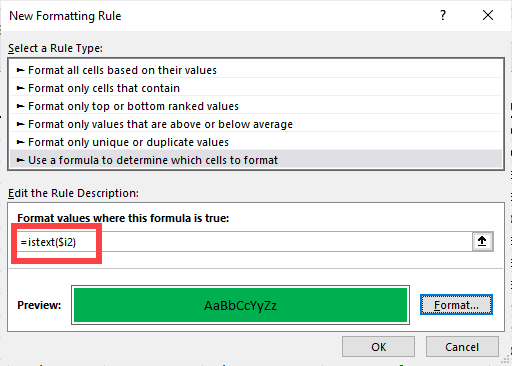 Conditional formatting - ISTEXT function