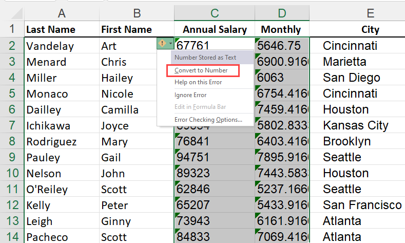 Green triangle in Excel - convert text to number