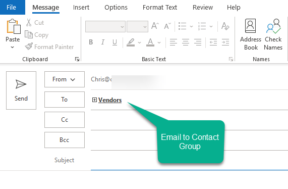 Emailing a contact group in Outlook