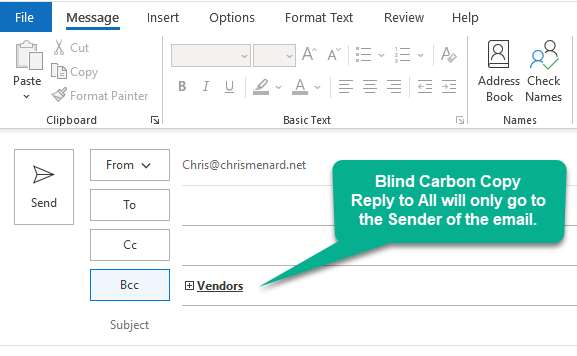 BCC in Outlook - Blind carbon copy