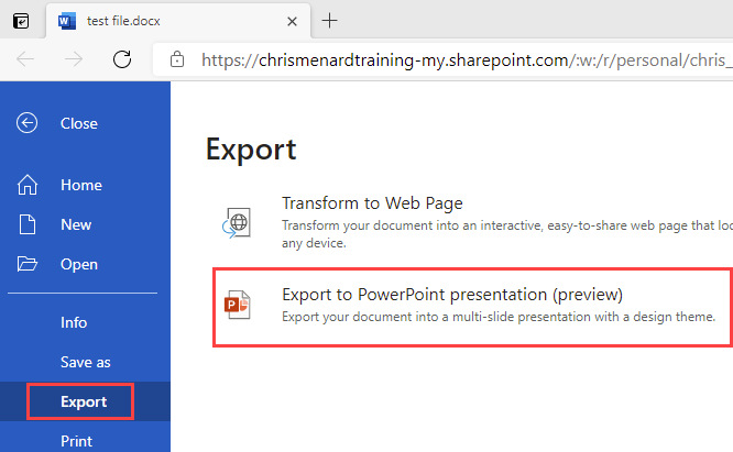 Export Word to PowerPoint