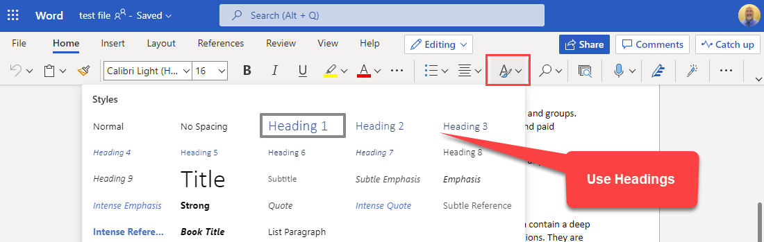 Use Headings before converting Word to PowerPoint