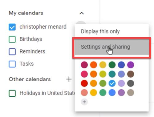 Go to Settings and Sharing to add a new calendar