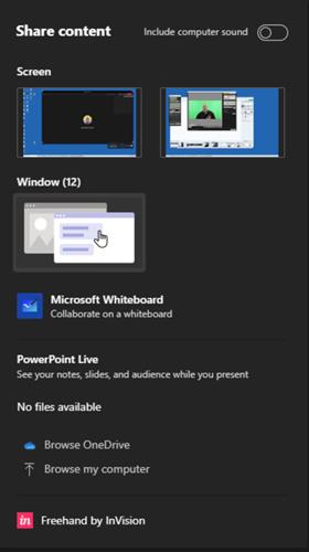 The new sharing tray in Microsoft Teams show collapsed windows