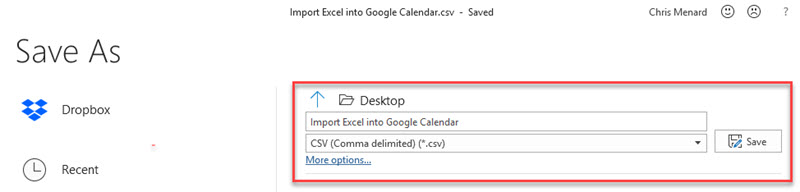 Export Excel to CSV