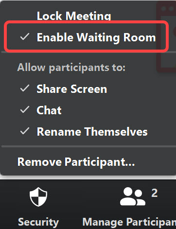 Enable waiting room after starting Zoom Meeting