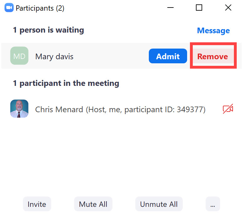 Remove from Waiting Room in Zoom Meeting