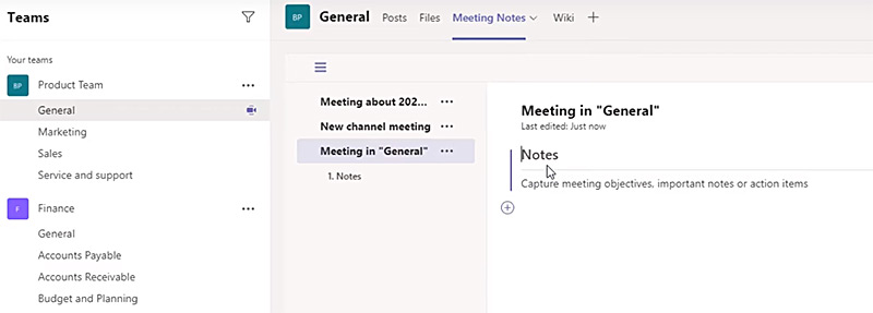 New meeting notes placement in Microsoft Teams Meetings