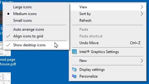 Hiding your desktop icons on Windows